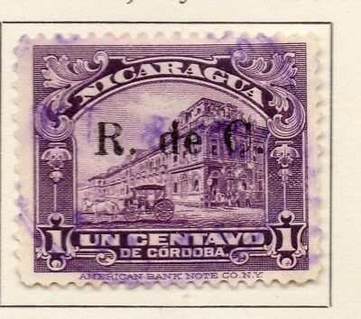 Nicaragua 1922 Early Issue Fine Used 1c. Surcharged 111032