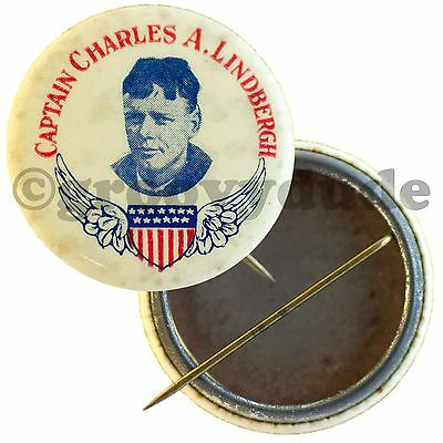 Early Vintage Lindy Captain Charles A Lindbergh Photo Wings Pinback Pin Button