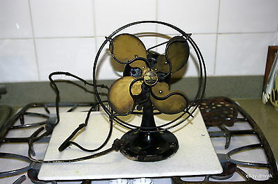 Vintage 1920's Emerson Jr Fan With Parker Metal Brass Color Blades Bright Shiny