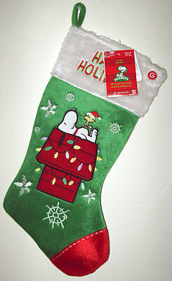Snoopy Christmas Peanuts Stocking New Green Musical