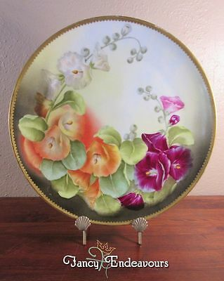 T&V Limoges Hand Painted Charger Hollyhock Flowers Signed