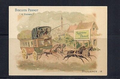 FRANCE STAGECOACH topical BISCUITS PERNOT advertising card lovely item