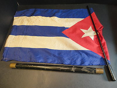 Silk Parade Flag CUBA rolled in Brass Tipped Tube Antique