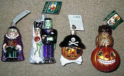 4 Vtg Merck Old World Xmas Halloween Ornaments Glass Nwt Frankenstein Dracula +