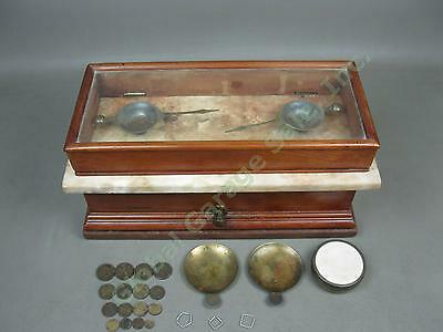 Vtg Wood + Marble Apothecary Pharmacy Scale + Scruple Weights Henry Troemner NR!