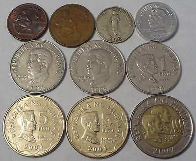 1962-2003 PHILIPPINES, LOT OF 10 COINS, 1-CENTAVO to 10-PISO