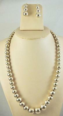 Vintage Sterling Silver Graduated Bead 8 to 16mm Necklace & Earrings Set 107.2 g