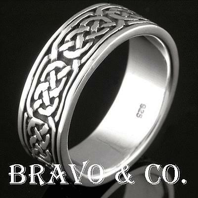 SIZE 10 Bravo & Co. Solid 925 Sterling Silver New Celtic Men Ring R-137