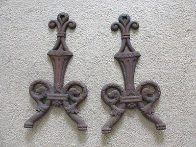 AWESOME Pair OLD CAST IRON ARCHITECTURAL DECOR PIECES from Andirons Fronts