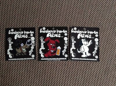 LOT of 3 DOGS Embroidered Iron On Patch, New on card '96, '97, '98