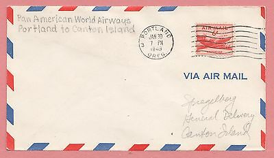 1949 First Flight Airmail Cover Portland Or To Canton Island Fa19 Aamc F19-40A