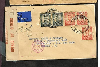 Southern Rhodesia India Airmail Censored     (Ast26
