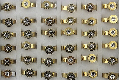 30pcs Wholesale Lots The Great Wall Pattern Gold P Stainless Steel Ring AH475