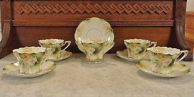 Vintage RS Prussia Set of 5 Cups and Saucers Green with Yellow Roses