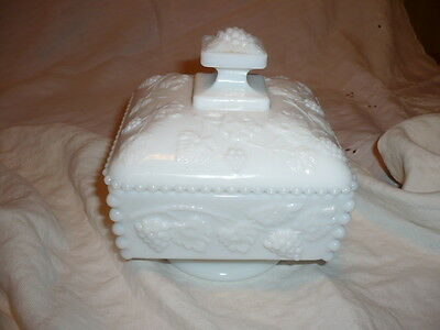 Westmoreland Beaded Grape Milk Glass Covered Square Low Stem Compote Dish Bowl
