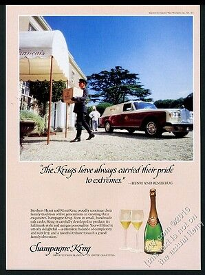 1984 Krug champagne Rolls-Royce station wagon delivery truck vintage print ad