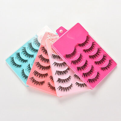 5Pairs Makeup Handmade Long Thick Cross False Eyelashes Eye Lashes Fashion HU
