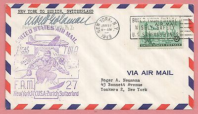 1949 First Flight Airmail Cover Ny To Switzerland Fam 27 Aamc F27-65