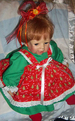 "Pretty  Christmas Tree Dress Set For Lee Middleton Toddler Doll ""By Berta"