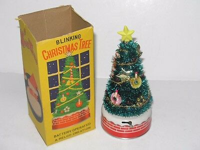 Vintage 1950's Battery Operated Decorated Christmas Tree In The Original Box