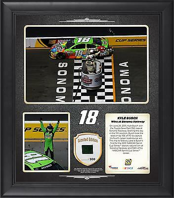 Kyle Busch 2015 Toyota Save Mart 350 Winner Framed 15x17 Collage With Tire -LE