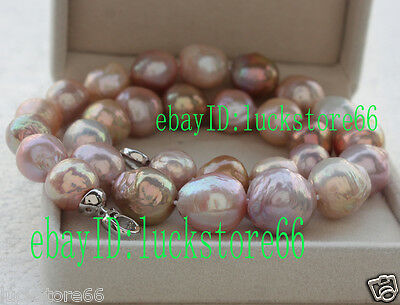 Top quality rainbow 12.2-16mm Kasumi pearl string necklace LLNN136