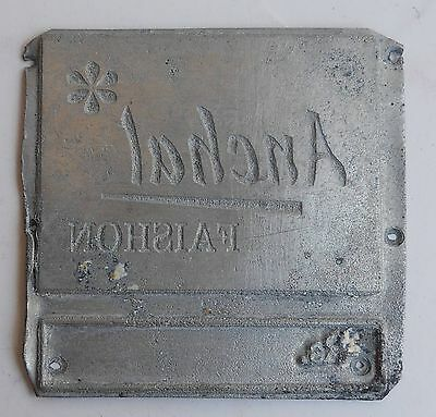 India Vintage Zinc Metal Printing block wood base Removed from back #zn142