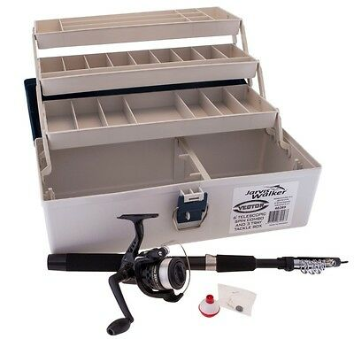 Jarvis Walker 6ft Telescopic Fishing Rod and Reel Combo with 3 Tray Tackle Box