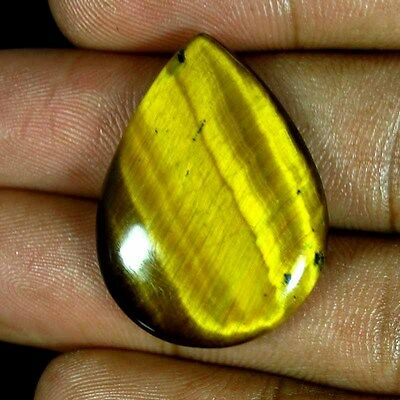 24.35 Cts. 100% Natural Yellow Golden Tiger Eye Pear Cabochon African Gemstones