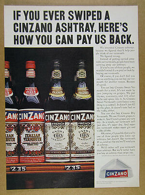1966 Cinzano Italian & French Vermouth bottles on shelf photo vintage print Ad