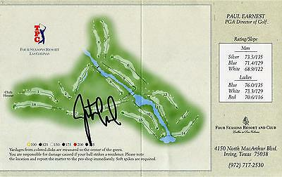 Justin Leonard Autographed Four Season Map Scorecard
