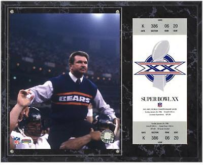 Chicago Bears Super Bowl XX Mike Ditka Plaque with Replica Ticket