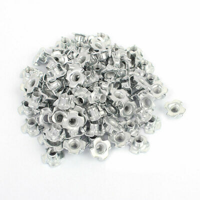 M6 x 8mm Four Pronged Tee Nuts Captive Blind Inserts 100pcs for Wood Furniture