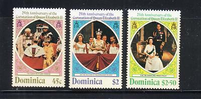 DOMINICA  : 25th Anniversary of Coronation 3 stamps MNH