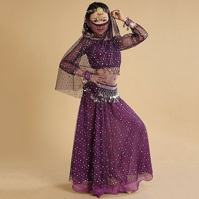 New Kids Belly Dance Outfits Girls Dancing Long Sleeve Top & Skirt & Accessories
