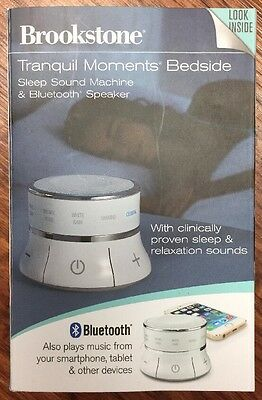 Tranquil Moments Bedside Speaker & Sleep Sounds By Brookstone, New (DS)