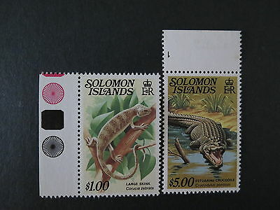 1979-83 $1 & $5 Margin Reptiles Solomon Islands E.r Mnh Mint Stamp More Listed