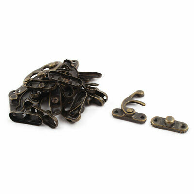Home Metal Chinese Buckle Tin Trunk Box Latch Hook Lock Bronze Tone 10 Sets