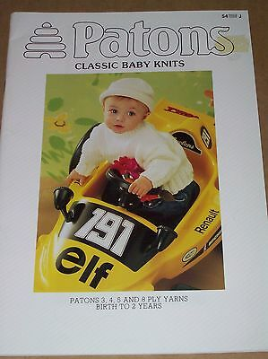 Patons Knitting Pattern Book CLASSIC BABY KNITS Birth to 2 Years 3, 4, 5 & 8 Ply