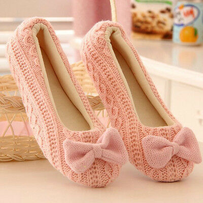 New Winter Ladies Women Indoor Home Slippers Bowknot Soft Warm Casual Yoga Shoes