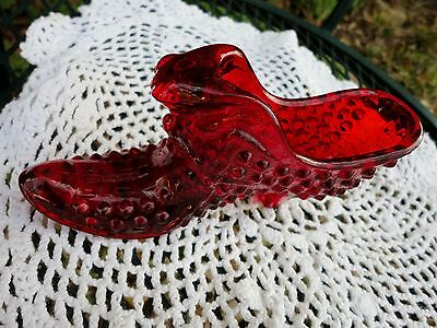 ruby red glass hobnail cathead shoe