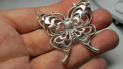 Sterling Silver 925 Estate Ross Simons Open Scroll Butterfly Pin Brooch