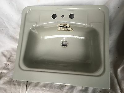 Vtg NEW OLD STOCK IN BOX 1950's GRAY Enameled Sink By White 19 3/4 X 17 W Apron