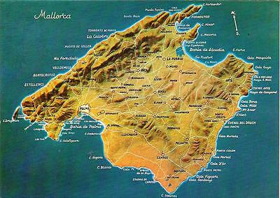 Mallorca -Map (Ref.1) - Unposted Postcard