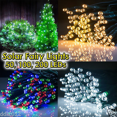 100 200 300 LED String Solar Powered Fairy Lights Garden Christmas Outdoor Decor