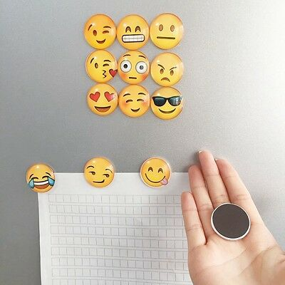 5pcs Random Cute Emoji Glass Fridge Magnets Sticker Notes Message Holder Sticker