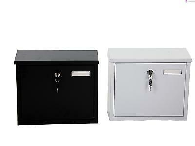 Steel Post Box Black Or White Postbox Outdoor Mail Box Lockable Letter Storage