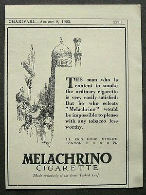 1920s advert for MELACHRINO Turkish cigarettes smoking advertising a8 1923
