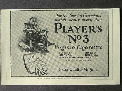 1920s advert for PLAYER'S No.3 Virginia cigarettes smoking advertising 1928