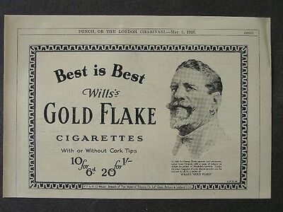 1920s advert for WILLS'S gold flake cigarettes Francis Drake 1926 advertising